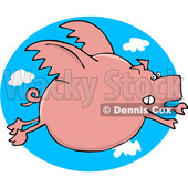 Clipart of a Cartoon Chubby Pink Pig Flying over a Sky Oval - Royalty Free Vector Illustration © djart #1374506
