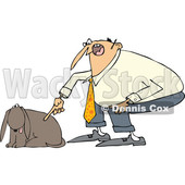 Clipart of a Cartoon Chubby White Man Yelling at His Happy Dog - Royalty Free Vector Illustration © djart #1374731
