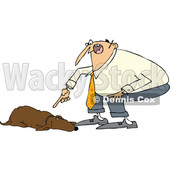 Clipart of a Cartoon Chubby White Man Yelling at His Lazy Hound Dog - Royalty Free Vector Illustration © djart #1374732