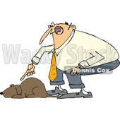 Clipart of a Cartoon Chubby White Man Yelling at His Lazy Dog - Royalty Free Vector Illustration © Dennis Cox #1374733