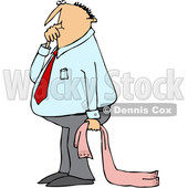 Cartoon Clipart of a Caucasian Businessman Sucking His Thumb and Holding a Blanket - Royalty Free Vector Illustration © djart #1375138