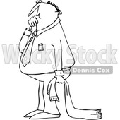 Cartoon Clipart of a Black and White Businessman Sucking His Thumb and Holding a Blanket - Royalty Free Vector Illustration © djart #1375139