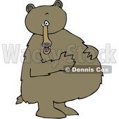 Cartoon Clipart of a Brown Bear Standing Upright and Resting His Paws on His Full Belly - Royalty Free Vector Illustration © Dennis Cox #1375291