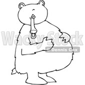 Cartoon Clipart of a Black and White Bear Standing Upright and Resting His Paws on His Full Belly - Royalty Free Vector Illustration © Dennis Cox #1375292