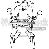 Cartoon Clipart of a Black and White Baby Lamb Sitting in a High Chair and Wearing a Bib - Royalty Free Vector Illustration © djart #1375294