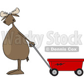Cartoon Clipart of a Moose Standing Upright and Pulling a Wagon - Royalty Free Vector Illustration © djart #1375295