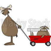 Cartoon Clipart of a Moose Standing Upright and Pulling a Baby in a Wagon - Royalty Free Vector Illustration © djart #1375296