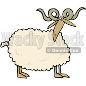 Cartoon Clipart of a Curly Horned Sheep - Royalty Free Vector Illustration © Dennis Cox #1375298