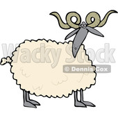 Cartoon Clipart of a Curly Horned Sheep with a Black Face and Legs - Royalty Free Vector Illustration © Dennis Cox #1375299