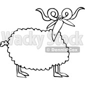 Cartoon Clipart of a Black and White Curly Horned Sheep - Royalty Free Vector Illustration © djart #1375300