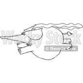Clipart of a Cartoon Black and White Elephant Super Hero Flying - Royalty Free Vector Illustration © djart #1376338