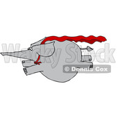 Clipart of a Cartoon Elephant Super Hero Flying - Royalty Free Vector Illustration © Dennis Cox #1376339
