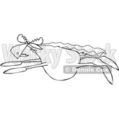 Clipart of a Cartoon Black and White Super Hero Moose Flying with a Cape - Royalty Free Vector Illustration © djart #1376372