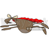 Clipart of a Cartoon Super Hero Moose Flying with a Cape - Royalty Free Vector Illustration © Dennis Cox #1376373