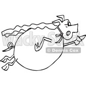 Clipart of a Cartoon Black and White Chubby Pig Super Hero Flying - Royalty Free Vector Illustration © djart #1376374