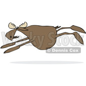 Clipart of a Cartoon Moose Leaping - Royalty Free Vector Illustration © Dennis Cox #1376377