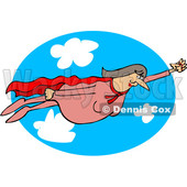 Clipart of a Chubby White Female Super Hero Flying Against a Sky Oval - Royalty Free Vector Illustration © djart #1377523