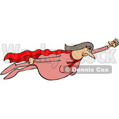 Clipart of a Chubby White Female Super Hero Flying - Royalty Free Vector Illustration © djart #1377526