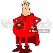 Clipart of a Chubby White Male Super Hero Standing with His Hands on His Hips, Wearing a Red Suit - Royalty Free Vector Illustration © djart #1377528