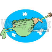 Clipart of a Chubby White Male Super Hero Flying in a Green Suit over a Sky Oval - Royalty Free Vector Illustration © Dennis Cox #1377529