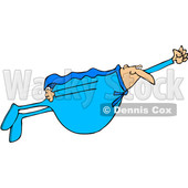 Clipart of a Chubby White Male Super Hero Flying in a Blue Suit - Royalty Free Vector Illustration © djart #1377531