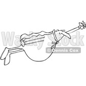 Clipart of a Black and White Chubby Male Super Hero Flying - Royalty Free Vector Illustration © djart #1377532