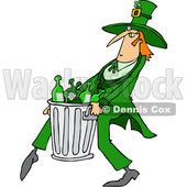 Clipart of a Cartoon St Patricks Day Leprechaun Carrying a Garbage Can Full of Liquor Bottles - Royalty Free Vector Illustration © djart #1381475