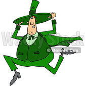 Clipart of a Cartoon Chubby St Patricks Day Leprechaun Holding His Hat and Running - Royalty Free Vector Illustration © djart #1381476