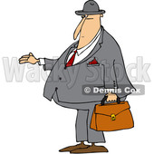 Clipart of a Cartoon Chubby White Debt Collector or Businessman Holding His Hand out for Payment - Royalty Free Vector Illustration © djart #1381478