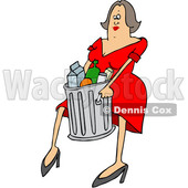 Clipart of a Cartoon Brunette White Woman Carrying a Trash Can - Royalty Free Vector Illustration © djart #1381481