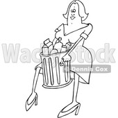 Clipart of a Cartoon Black and White Woman Carrying a Trash Can - Royalty Free Vector Illustration © djart #1381482
