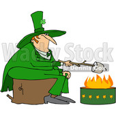 Clipart of a Chubby St Patricks Day Leprechaun Sitting on a Stump and Roasting a Marshmallow over a Fire Pit - Royalty Free Vector Illustration © djart #1382269