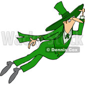 Clipart of a St Patricks Day Leprechaun Flying - Royalty Free Vector Illustration © Dennis Cox #1382561