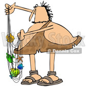 Clipart of a Chubby Caveman with Colorful Fish in a Net - Royalty Free Illustration © Dennis Cox #1383592