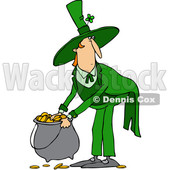 Clipart of a Cartoon St Patricks Day Leprechaun Picking up a Pot of Gold - Royalty Free Vector Illustration © djart #1383593