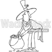 Clipart of a Cartoon Black and White St Patricks Day Leprechaun Picking up a Pot of Gold - Royalty Free Vector Illustration © djart #1383594