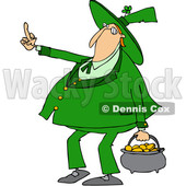 Clipart of a Cartoon Chubby St Patricks Day Leprechaun Carrying a Pot of Gold and Flipping the Bird with His Middle Finger - Royalty Free Vector Illustration © djart #1383675