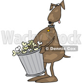 Clipart of a Cartoon Brown Dog Carrying a Garbage Can of Bones - Royalty Free Vector Illustration © djart #1384313