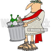 Clipart of a Cartoon Roman Man Carrying a Garbage Can Full of Bottles and Wine Glasses - Royalty Free Vector Illustration © Dennis Cox #1384315