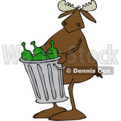 Clipart of a Cartoon Moose Carrying a Garbage Can Full of Bottles - Royalty Free Vector Illustration © djart #1384316