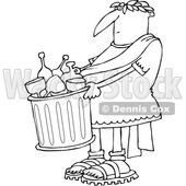 Clipart of a Cartoon Black and White Lineart Roman Man Carrying a Garbage Can Full of Bottles and Wine Glasses - Royalty Free Vector Illustration © Dennis Cox #1384318
