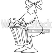 Clipart of a Cartoon Black and White Lineart Moose Carrying a Garbage Can Full of Bottles - Royalty Free Vector Illustration © djart #1384319