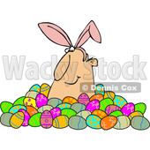 Clipart of a Happy White Man Wearing Bunny Ears and Popping out of a Pile of Decorated Easter Eggs - Royalty Free Vector Illustration © djart #1385549