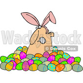 Clipart of a Grumpy White Man Wearing Bunny Ears and Popping out of a Pile of Decorated Easter Eggs - Royalty Free Vector Illustration © Dennis Cox #1385550