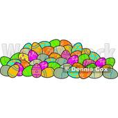 Clipart of a Pile of Decorated Easter Eggs - Royalty Free Vector Illustration © djart #1385552