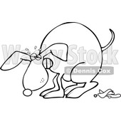 Clipart of a Cartoon Black and White Lineart Dog Straining and Pooping - Royalty Free Vector Illustration © Dennis Cox #1388181