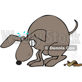 Clipart of a Cartoon Brown Dog Straining and Pooping - Royalty Free Vector Illustration © djart #1388182