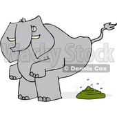 Clipart of a Cartoon Elephant Squatting and Pooping - Royalty Free Vector Illustration © djart #1388393