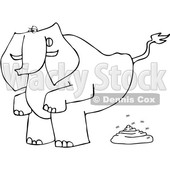 Clipart of a Cartoon Black and White Lineart Elephant Squatting and Pooping - Royalty Free Vector Illustration © Dennis Cox #1388394