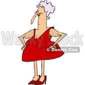 Clipart of a Cartoon Chubby Caucasian Granny in a Sexy Red Dress - Royalty Free Vector Illustration © djart #1388395